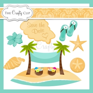 Beach wedding clipart